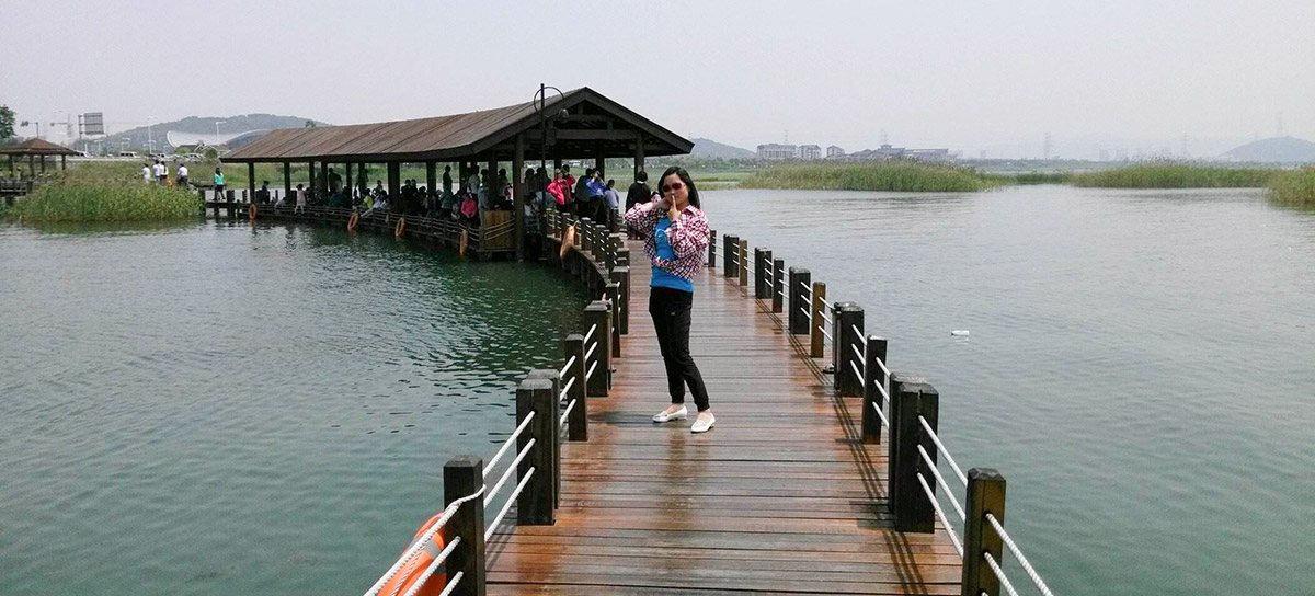 苏州环太湖公园木结构栈道细节(四)